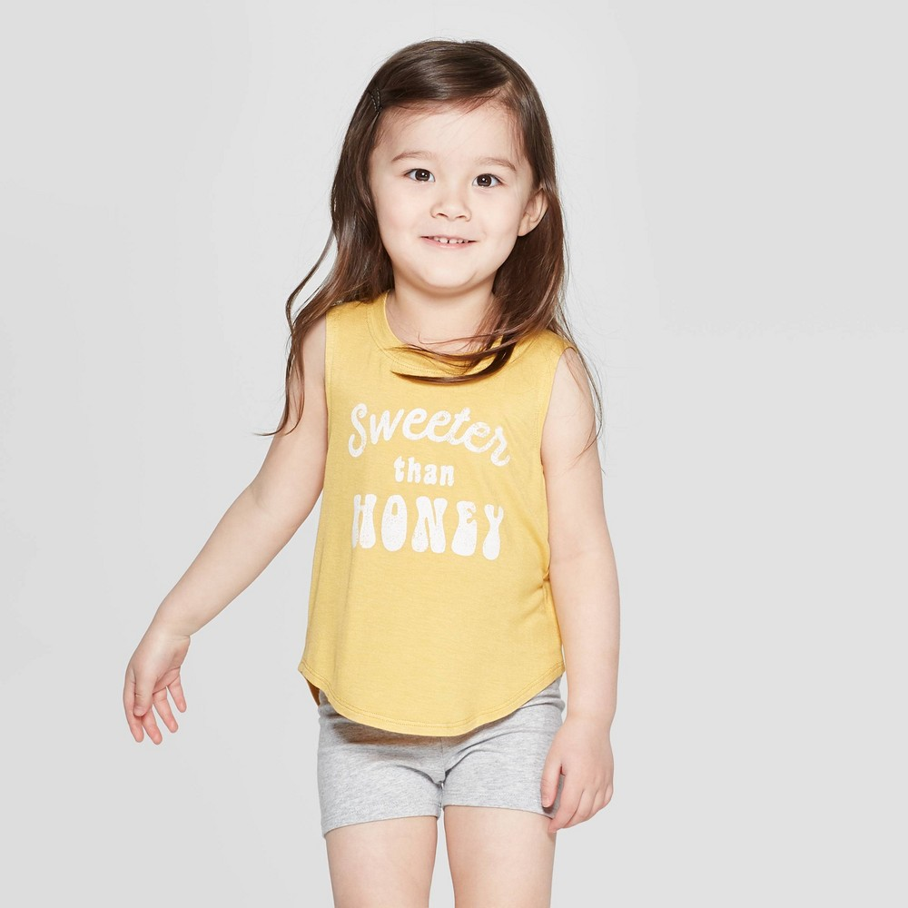 Image of Grayson Mini Toddler Girls' Graphic Tank Top - Yellow 2T, Girl's