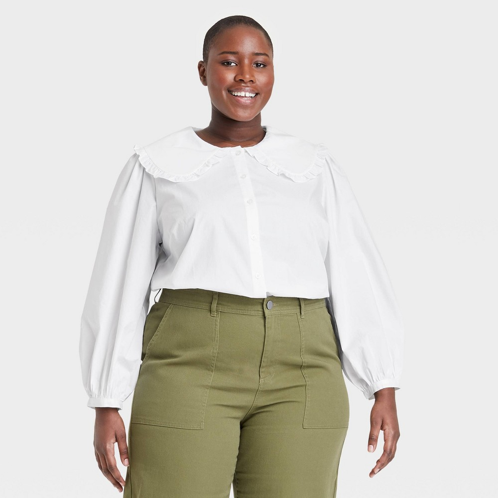 Edwardian Blouses |  Lace Blouses & Sweaters Womens Plus Size Long Sleeve Blouse - Who What Wear White 4X $29.99 AT vintagedancer.com