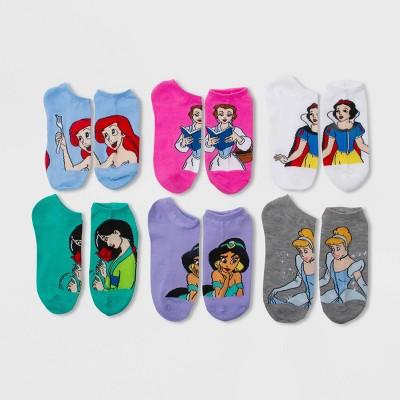 Women's Disney Princess 6pk Low Cut Socks - Gray/Blue/White 4-10