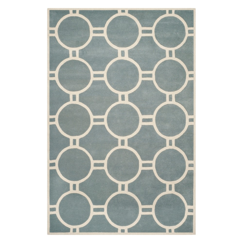 Best Review 89X12 Geometric Tufted Area Rug BlueIvory Safavieh