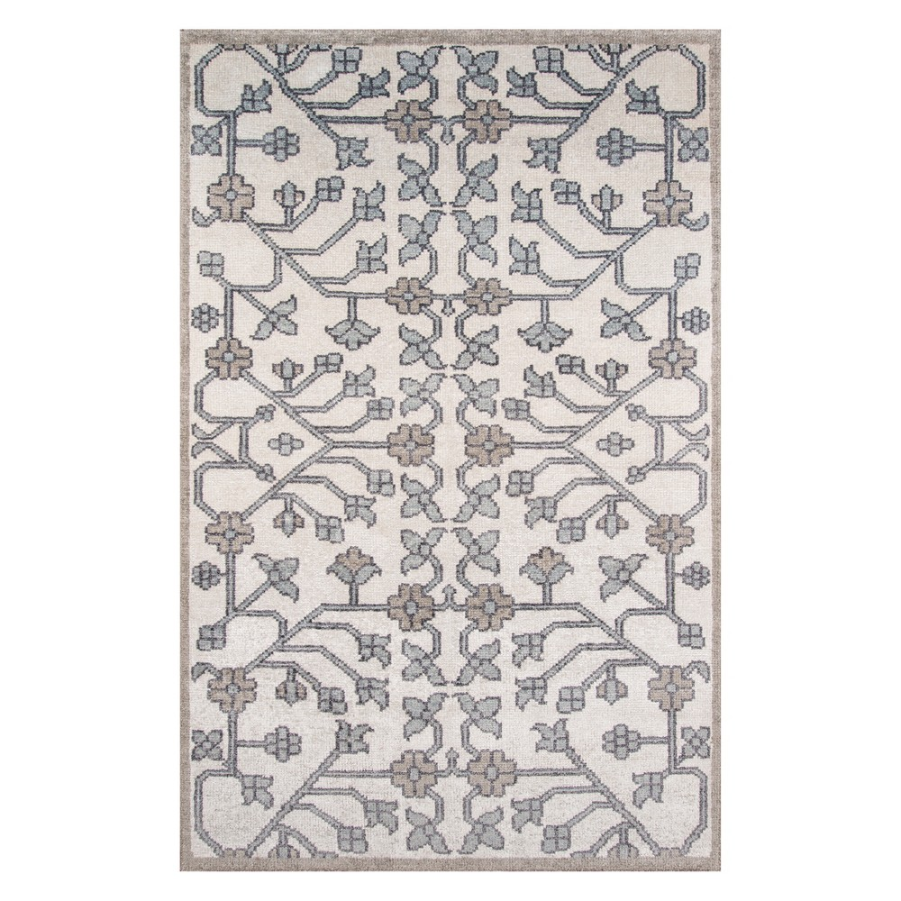 5'X8' Floral Knotted Area Rug Ivory - Momeni