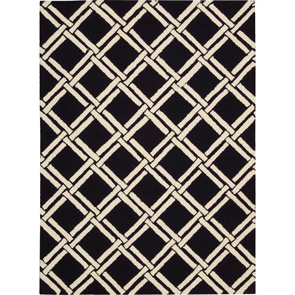 Image of Nourison Diamond Lattic Linear Area Rug - Black/White (5'X7')