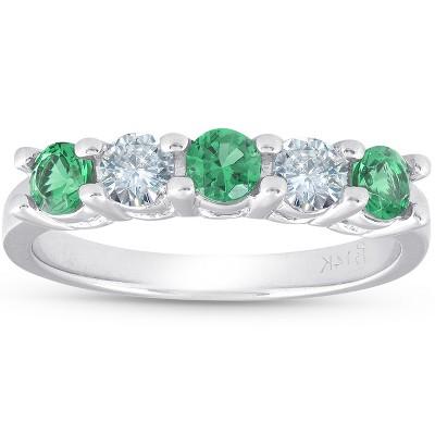Pompeii3 3/4ct Emerald & Diamond 5-Stone Wedding Ring 14K White Gold