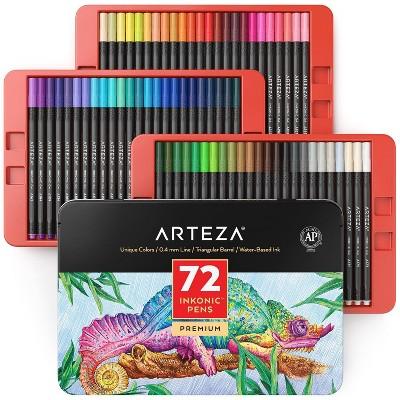 Arteza Fineliner Pens, Inkonic, Fine Line, Assorted Colors Art Supply Set - 72 Piece
