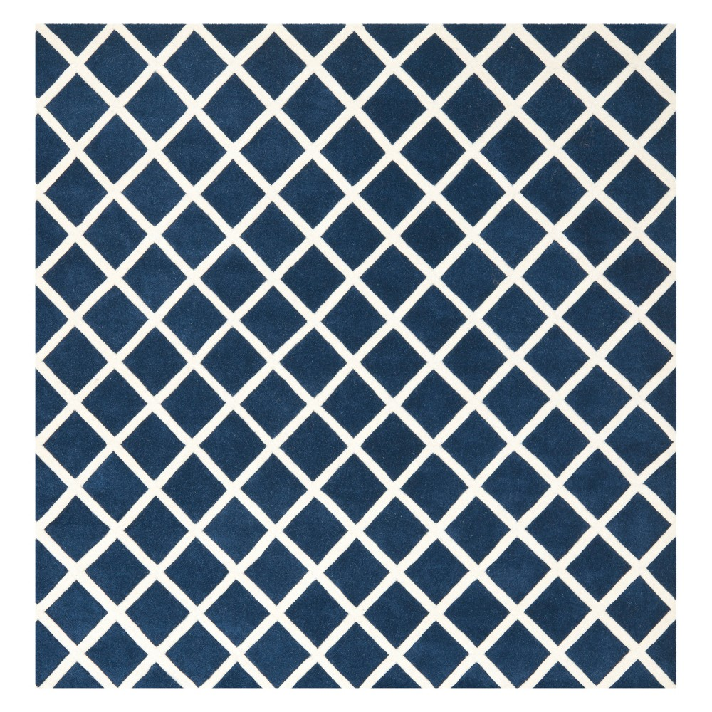 7'X7' Geometric Tufted Square Area Rug Dark Blue/Ivory - Safavieh