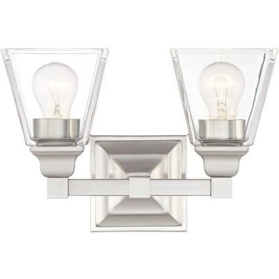 "Regency Hill Wall Light Satin Nickel Hardwired 12 3/4"" Wide 2-Light Fixture Clear Glass for Bathroom Vanity"