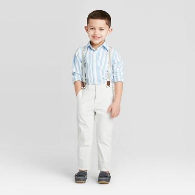 OshKosh B'gosh Toddler Boys' Suspender Woven Pants - White 18M