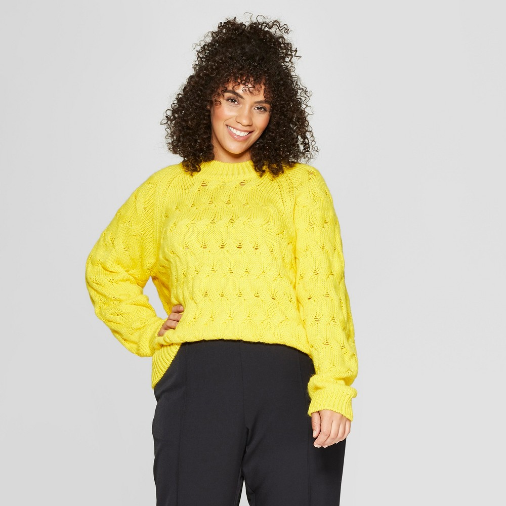 Women's Plus Size Long Sleeve Crew Neck Cable Sweater - Who What Wear Yellow 3X