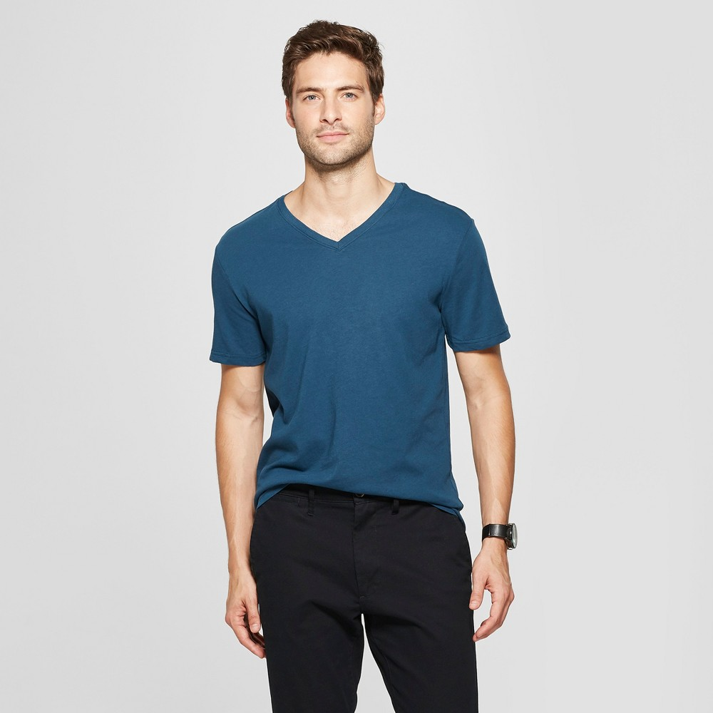 Men's Slim Fit V-Neck Short Sleeve T-Shirt - Goodfellow & Co Thunderbolt Blue XL
