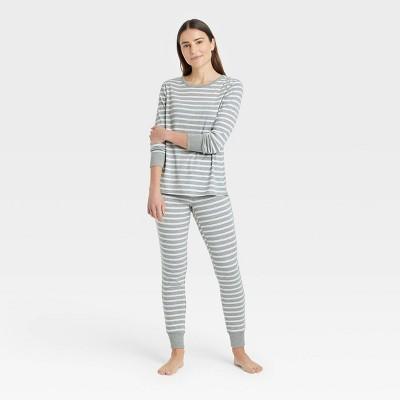 Women's Striped 100% Cotton Matching Family Pajama Set - Gray M