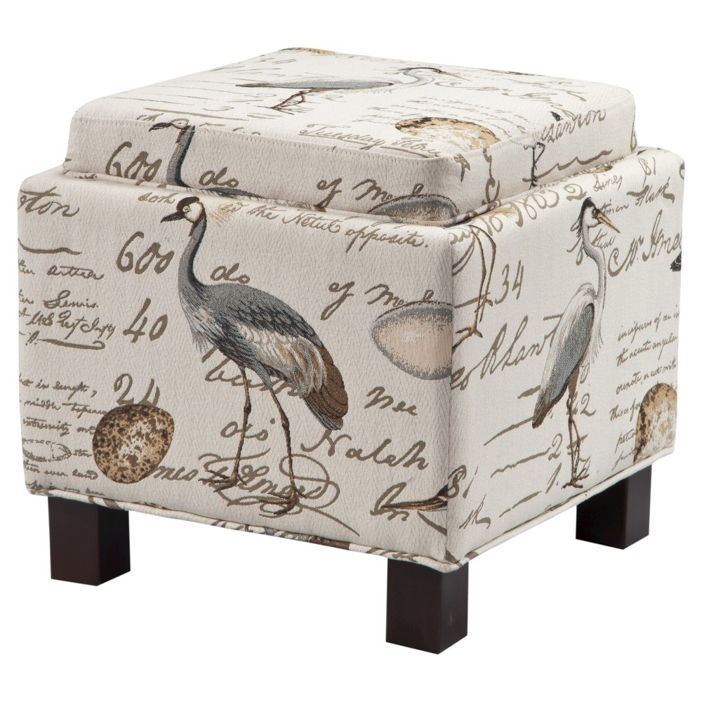 Shelly Square Storage Ottoman with Pillows Ivory