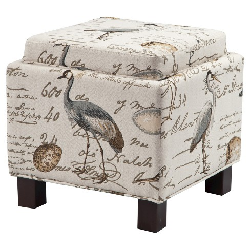 Shelly Square Storage Ottoman with Pillows Ivory - image 1 of 4