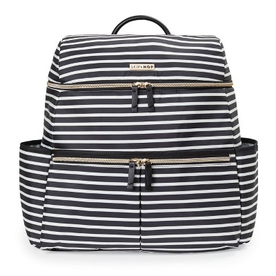 Skip Hop Flatiron Black and White Stripe Diaper Bag Backpack