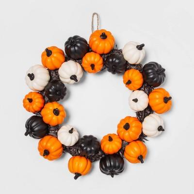 Pumpkins and Black Grass Halloween Wreath - Hyde & EEK! Boutique™