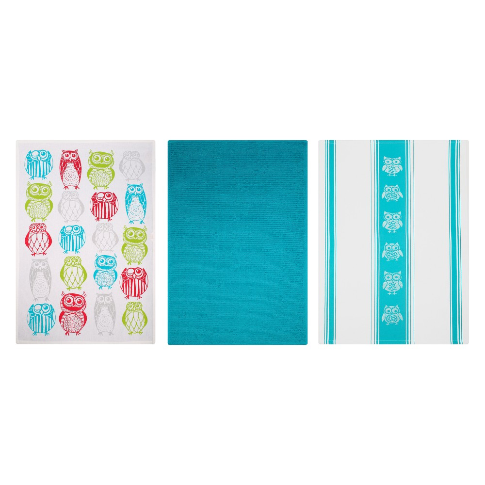 Kitchen Towel Print/Stripe/Solid Blue Set of 3 - Mu Kitchen, Multi-Colored