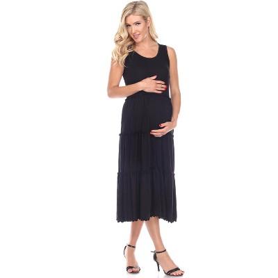 Maternity Scoop Neck Tiered Midi Dress - White Mark