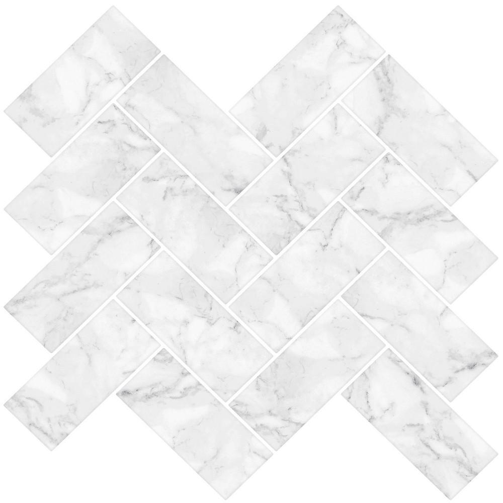 Brewster Herringbone Carrara Peel Stick Backsplash Tiles White