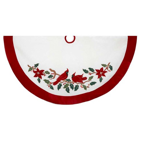 "48"" Velvet Red and White Cardinals Applique Decorative Tree Skirt - image 1 of 1"