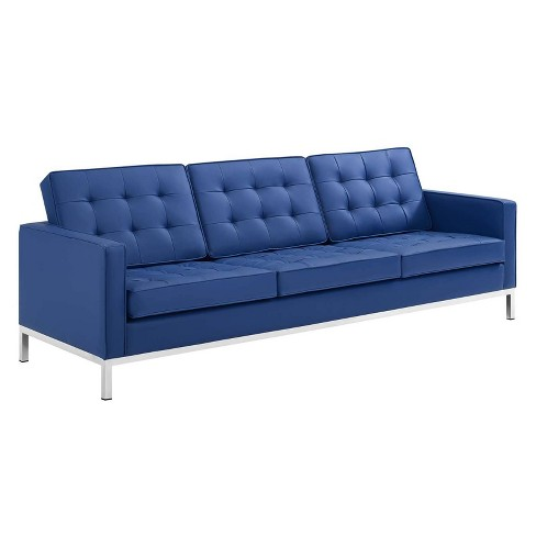 Loft Tufted Button Upholstered Faux Leather Sofa Silver/Navy - Modway