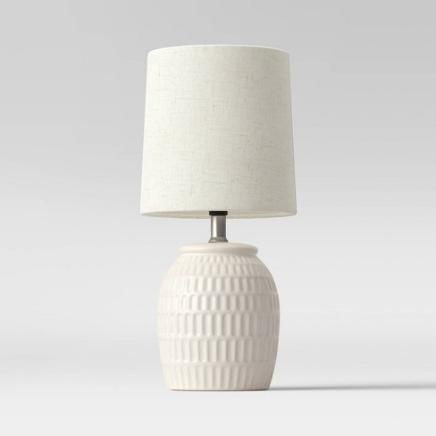 Embossed Scoop Pattern Ceramic Mini Lamp White - Threshold™ - image 1 of 3