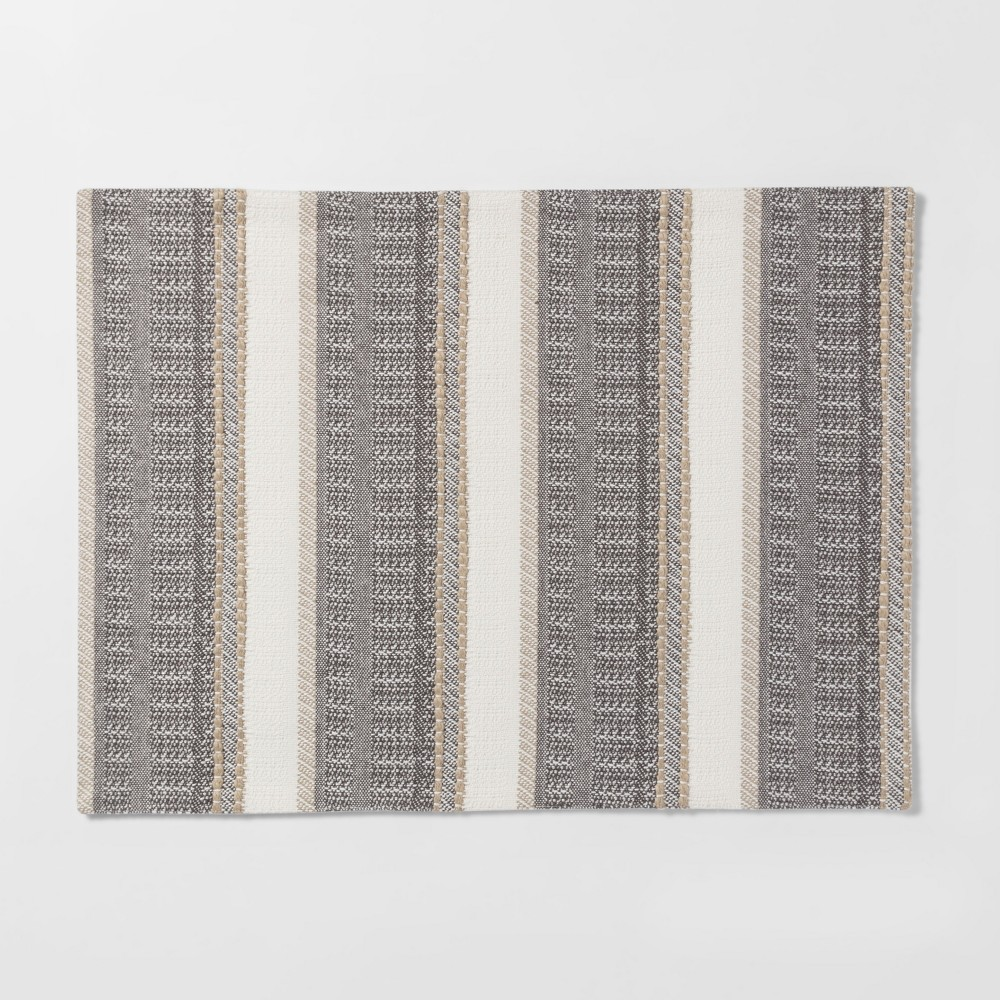 """Image of """"19""""""""X14"""""""" Woven Textured Stripe Placemat Cream - Threshold"""""""