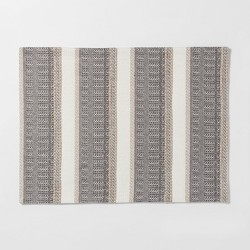 "19""X14"" Woven Textured Stripe Placemat Cream - Threshold™"