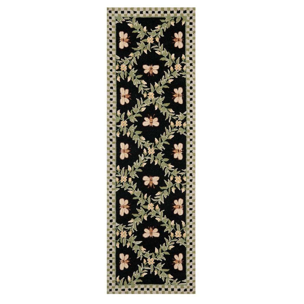 Black Floral Hooked Runner 2'6X8' - Safavieh