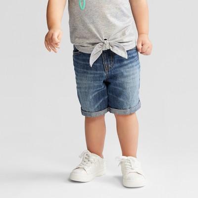 Toddler Boys' Roll Cuff Pull On Denim Shorts - Cat & Jack™ Medium Wash 5T