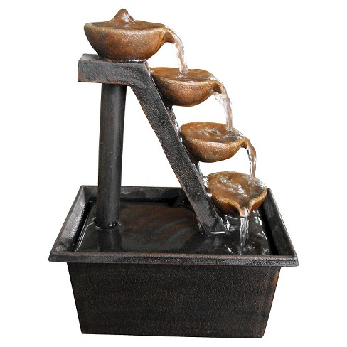 "Alpine Corporation 8"" Four Tiered Step Tabletop Fountain - Brown - image 1 of 6"