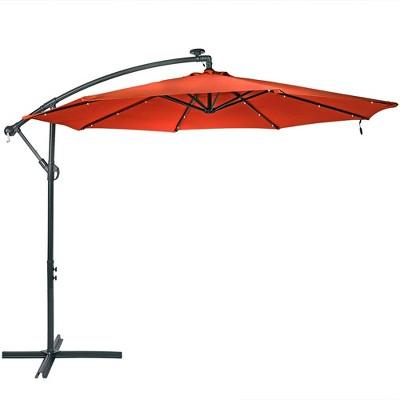 Sunnydaze Outdoor Steel Solar Offset Cantilever Patio Umbrella with Crank and Base - 10' - Burnt Orange