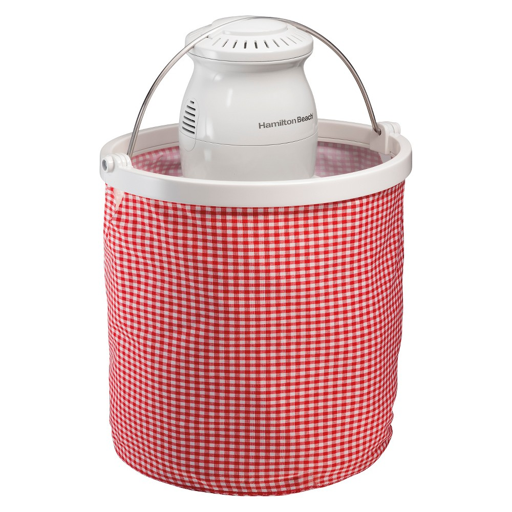 Hamilton Beach Easy-To-Store 4 Qt. Electric Ice Cream Maker - 68990, Red/White With the Hamilton Beach Easy-To-Store Ice Cream Maker, you can enjoy creating up to four quarts of homemade ice cream, frozen yogurt, sherbet and gelato in your own kitchen without taking up much storage space. Fill it with fresh ingredients from the farmer's market or grocery store and create a one-of-a-kind treat that everyone will appreciate. Unlike store-bought ice cream, you can have complete control over your ingredients. Need some inspiration? The Use and Care guide has recipes for ice cream, sorbet, sherbet, frozen yogurt and ice cream toppings. Unique design saves space People love making large batches of ice cream, but high-volume ice cream makers are large, clunky and difficult to store. Hamilton Beach found an innovative way to deliver fresh ice cream without taking up valuable freezer space or much-needed cabinet space. Size: 4 quart. Color: Red/white.