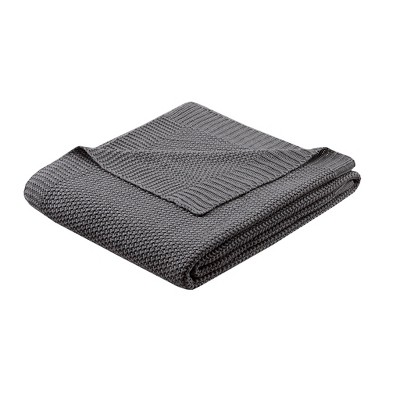 """60""""x50"""" Bree Knit Throw Blanket Charcoal"""