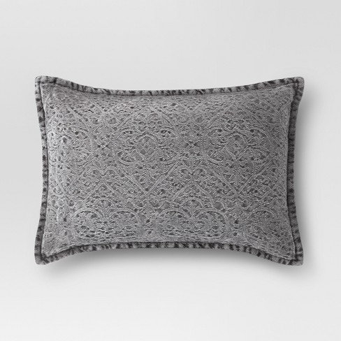 Gray Stonewashed Lumbar Pillow - Threshold™ - image 1 of 3