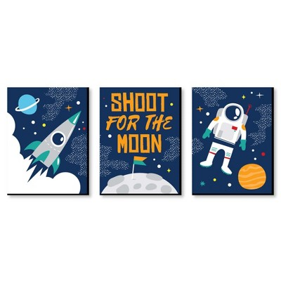 Big Dot of Happiness Blast Off to Outer Space - Rocket Ship Nursery Wall Art & Kids Room Decorations - Gift Ideas - 7.5 x 10 inches - Set of 3 Prints