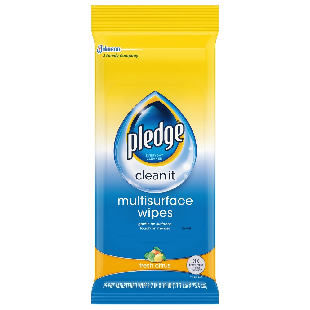 Pledge Multi Surface Wipes - 25ct Every hard surface, one wipe. For when you need to clean in a hurry, just grab a wipe and go. Pledge Multisurface Wipes remove three times more dust and messes than a dry cloth and will reveal the natural beauty of your hard surfaces* in each swipe. While tough on messes, the wipes are gentle for the surfaces and can be safely used on most of hard surfaces from kitchen countertops to stainless steel fridges to wood coffee tables. *Safe to use only on finished, sealed surfaces. Directions FOR Use: TO Open Resealable Pouch: Open pouch by peeling back seal. Use wipes as directed. Reseal pouch after each use to preserve moisture. To maintain maximum wipe moistness, store pouch on its edge. Store at temperatures between 50° and 90°F. Storage at extreme temperatures may limit product performance. Usage Directions: To clean and polish your furniture, Press Wipe Lightly, gradually increasing pressure as you go. Start with larger pieces of furniture first, moving towards smaller pieces last. As wipe becomes soiled, refold. Dispose of wipe when finished by throwing used wipe in the trash. Do not flush. Do not use for personal hygiene or as a baby wipe. DO Not Use ON Floors! This Formula IS Not Sold TO Any Retailer AS A Store Brand. Helpful Hints FOR Use: If surface looks cloudy or smeary, repeat procedure in  Usage Directions  . When using on old or unknown furniture finishes, test Pledge Wipes in an inconspicuous area first. Do not put partially soiled wipes back in this pouch with the new wipes. Uses: Surfaces: Granite, marble, quartz, chrome, stainless steel, glass, mirrors, sealed wood, wood laminate, plastic, electronics, and more. Removes: Dust and Messes, Fingerprints, Smudges and Smears.
