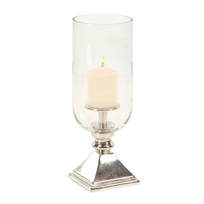 """17"""" x 6"""" Hurricane Aluminum/Glass Candle Holder Silver - Olivia & May"""