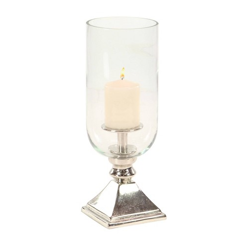 17 X 6 Hurricane Aluminum Glass Candle Holder Silver Olivia May Target