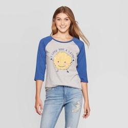Women's I Love You A Latke Raglan 3/4 Sleeve Sweatshirt (Juniors') - Gray