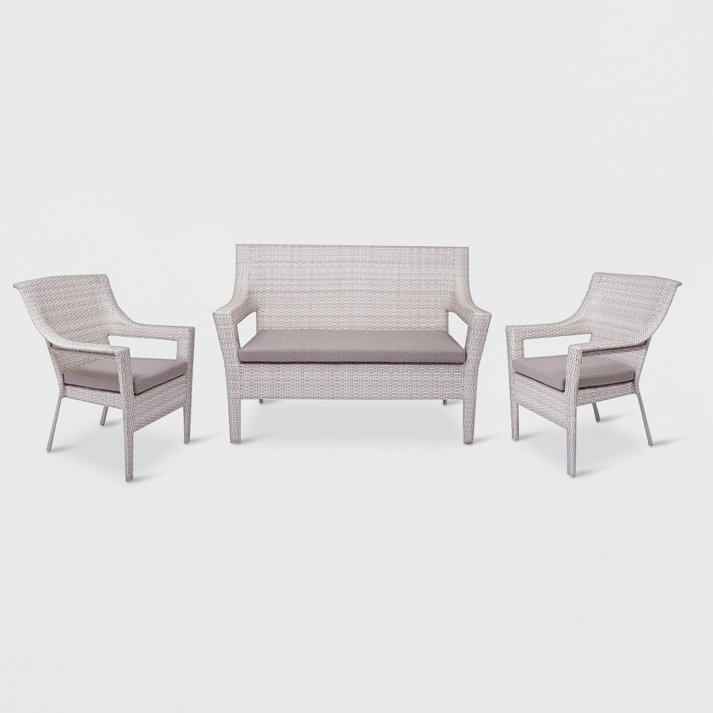 Southcrest 3pc All-Weather Wicker Stacking Patio Chat Set - Gray - Threshold was $675.0 now $337.5 (50.0% off)