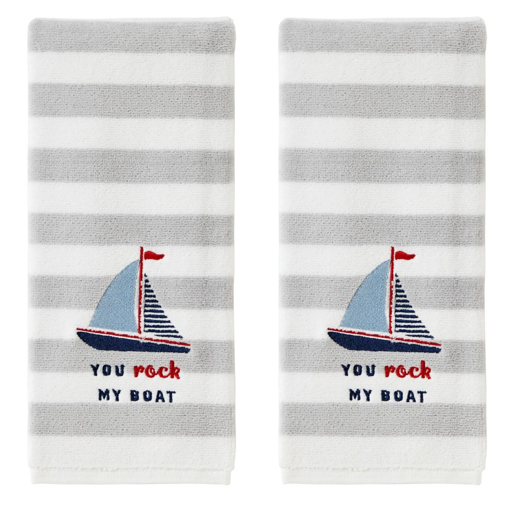 2pc You Rock My Boat Hand Towel Set Gray Skl Home