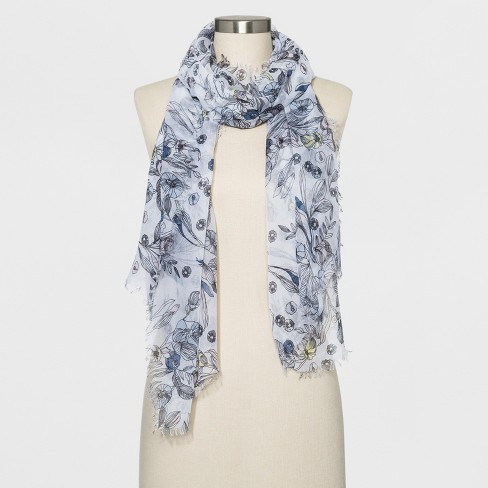 b01e3035c7c3e Women's Floral Oblong Scarf - A New Day™ White : Target