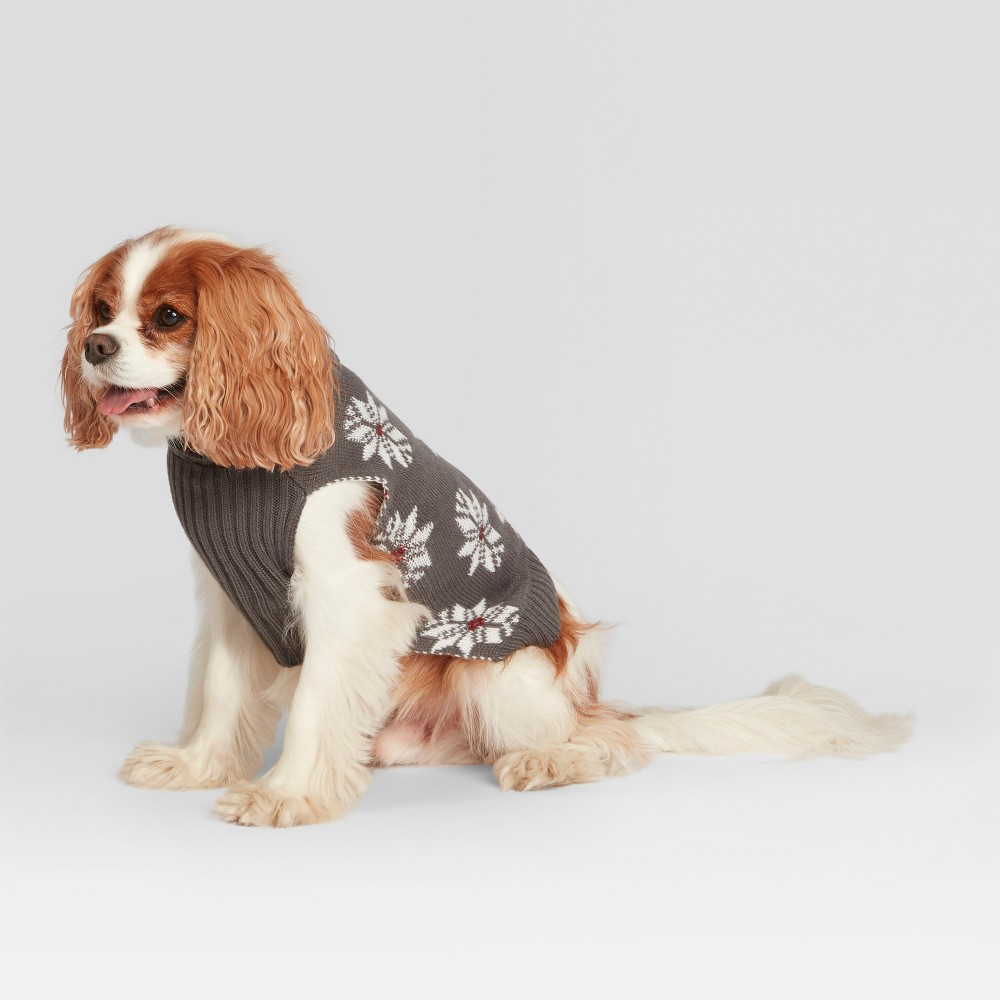 Pet Fair Isle Holiday Sweater - Gray S - Hearth & Hand with Magnolia, Gray Red White