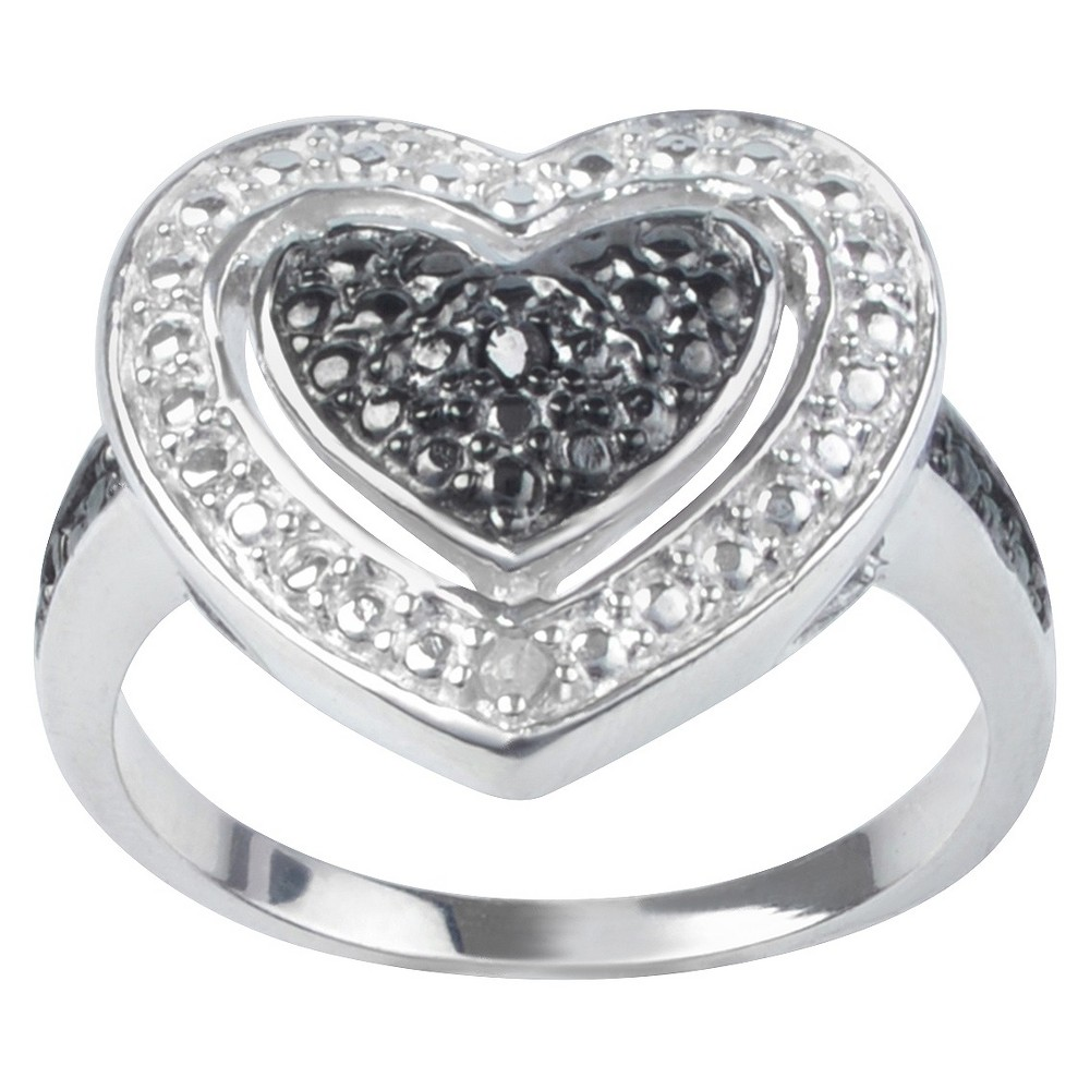 1/50 CT. T.W. Journee Round Cut Diamond Pave Set Heart Ring in Sterling Silver - Black (8)