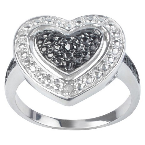 1/50 CT. T.W. Journee Round Cut Diamond Pave Set Heart Ring in Sterling Silver - Black - image 1 of 3