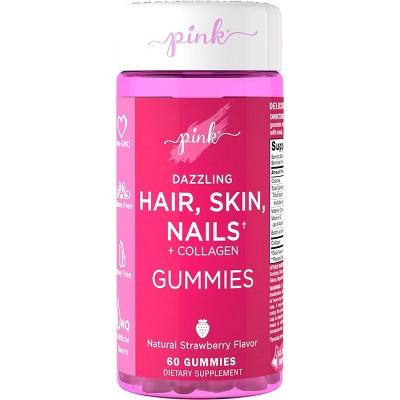 Pink Dazzling Hair Skin Nails + Collagen Gummies - Strawberry - 60ct