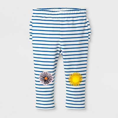 Baby Girls' Striped Ruffle Bum Flower Knee Leggings - Cat & Jack™ Blue/White Newborn