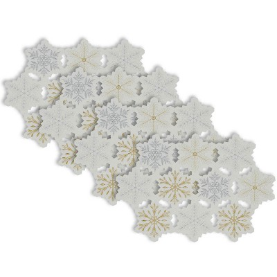 Set of 4 Embroidered Snowflake Placemat White/Gold - Design Imports