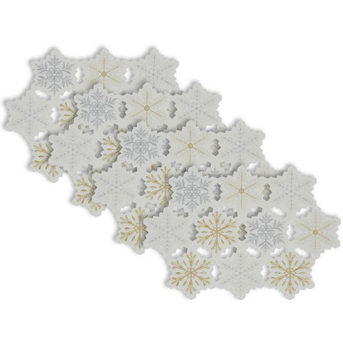 Set of 4 Embroidered Snowflake Placemat White/Gold - Design Imports - image 1 of 3