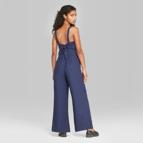 116c243ee0dd Women s Strappy Button Front Tie Back Jumpsuit - Wild Fable™   Target
