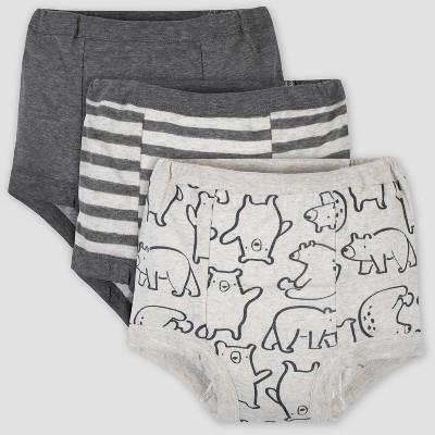 Gerber Baby Boys' 3pk Bear Print Training Pants - Gray 3T
